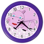 Hippo Pink Clock 2 - Color Wall Clock