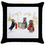 Travelling Yorkies in Paris Throw Pillow Case (Black)