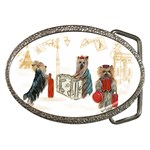 Travelling Yorkies in Paris Belt Buckle