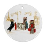 Travelling Yorkies in Paris Round Ornament (Two Sides)