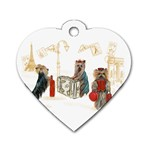 Travelling Yorkies in Paris Dog Tag Heart (One Side)