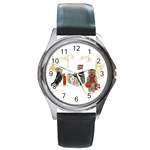 Travelling Yorkies in Paris Round Metal Watch