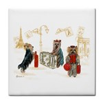 Travelling Yorkies in Paris Tile Coaster