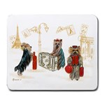Travelling Yorkies in Paris Large Mousepad