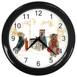 Travelling Yorkies in Paris Wall Clock (Black)