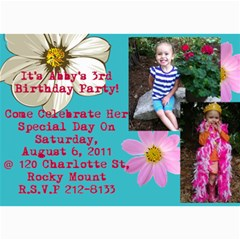 Abby s 3rd Birthday Invite By Heather Benson   5  X 7  Photo Cards   Wk311f3bwtpk   Www Artscow Com 7 x5 Photo Card - 3