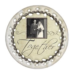 Together Forever Filligree Double Sided Ornament By Catvinnat   Round Filigree Ornament (two Sides)   L36o7h2na0d8   Www Artscow Com Front