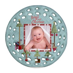 Baby s First Christmas Double Sided Filigree Ornamant By Catvinnat   Round Filigree Ornament (two Sides)   K92bwugx91vm   Www Artscow Com Front