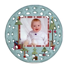 Baby s First Christmas Double Sided Filigree Ornamant By Catvinnat   Round Filigree Ornament (two Sides)   K92bwugx91vm   Www Artscow Com Back