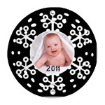 Snowflake 2011 Single side filigree Christmas Ornament - Ornament (Round Filigree)