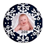 Snowflake 2011 Filigree Christmas Ornament double Sided - Round Filigree Ornament (Two Sides)