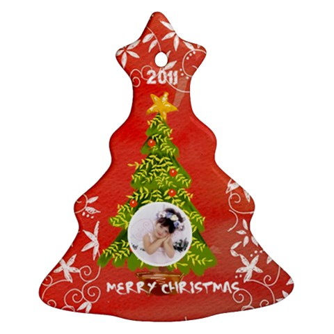 Merry Christmas 2011 Single Sided Tree Ornament By Catvinnat   Ornament (christmas Tree)    Tlbtybid7s27   Www Artscow Com Front