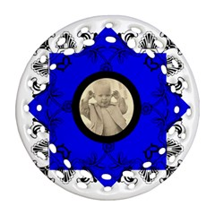 Cobalt Art Nouveau Filigree Double Sided Ornament By Catvinnat   Round Filigree Ornament (two Sides)   4qimofyfulym   Www Artscow Com Front