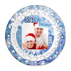 Jolly Holidays 2011 Double Sided Filigree Ornament By Catvinnat   Round Filigree Ornament (two Sides)   1oey95kaslfe   Www Artscow Com Front