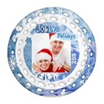 Jolly Holidays 2011 Double sided Filigree Ornament - Round Filigree Ornament (Two Sides)
