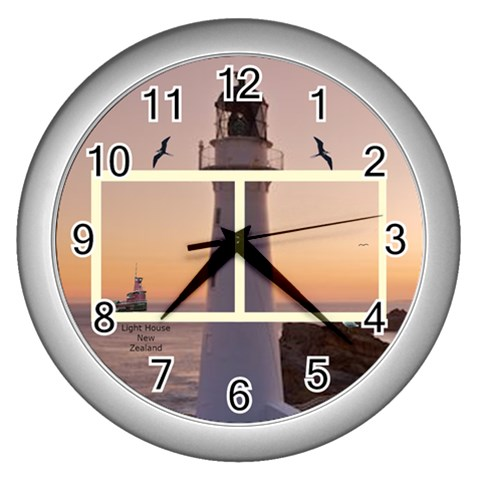 Castle Point Light House Clock By Kim Blair   Wall Clock (silver)   Ofz6etimidh8   Www Artscow Com Front
