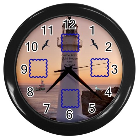 Photo Light House  Black Clock By Kim Blair   Wall Clock (black)   3coj1vuhp1g6   Www Artscow Com Front