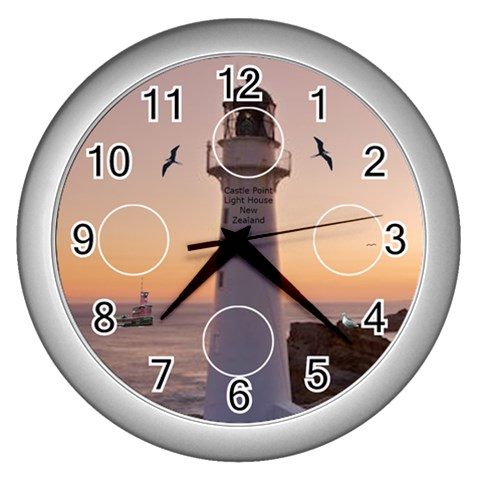 Castle Point Light House Clock Silver By Kim Blair   Wall Clock (silver)   Hbjtizawkttb   Www Artscow Com Front
