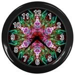 Fractal Pink Star Wall Clock (Black)