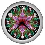 Fractal Pink Star Wall Clock (Silver)