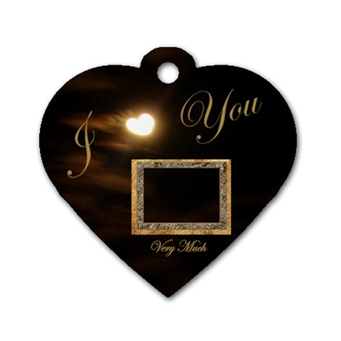 I Heart You Moon Heart Dog Tag By Ellan   Dog Tag Heart (one Side)   R824xhijj28s   Www Artscow Com Front