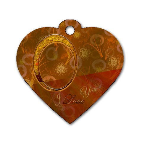 I Heart You gold heart dog tag by Ellan Front