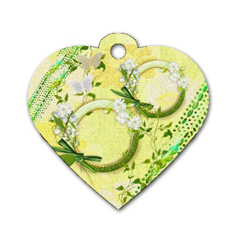 Easter Flower Floral Yellow Dog Tag By Ellan   Dog Tag Heart (one Side)   906fhdgp36s2   Www Artscow Com Front