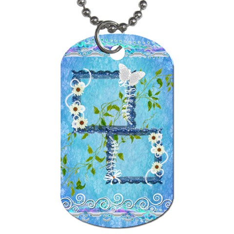 Spring flower floral blue dog tag by Ellan Front