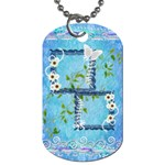Spring flower floral blue dog tag - Dog Tag (One Side)