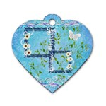 Spring flower floral blue dog tag - Dog Tag Heart (One Side)
