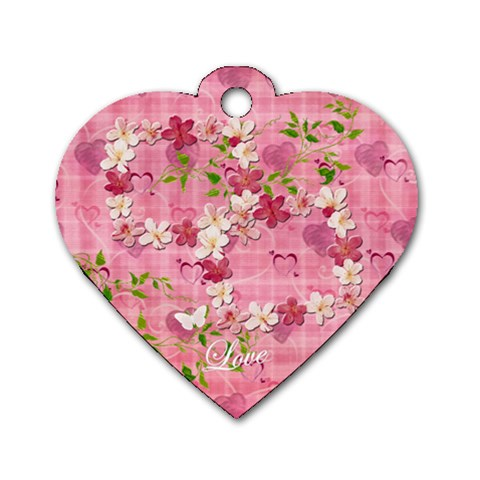 Spring Flower Floral Pink Dog Tag By Ellan   Dog Tag Heart (one Side)   Ustruxp15bm9   Www Artscow Com Front