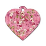 Spring flower floral pink dog tag - Dog Tag Heart (One Side)