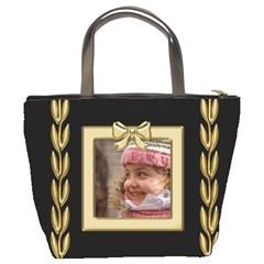 Black And Gold Bucket Bag By Deborah   Bucket Bag   Mrkvy44c6sl2   Www Artscow Com Back