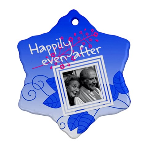 Happily Even After (blue)   Snowflake Ornament By Carmensita   Ornament (snowflake)   Cvilhydvnsf2   Www Artscow Com Front