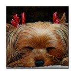 Sleeping Yorkie Painting Scan 300dpi Retouched Copy Tile Coaster