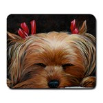 Sleeping Yorkie Painting Scan 300dpi Retouched Copy Large Mousepad