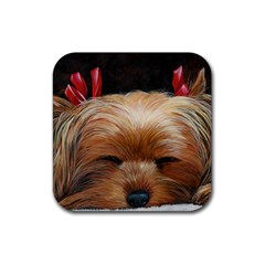 Sleeping Yorkie Painting Scan 300dpi Retouched Copy Rubber Coaster (Square) from ArtsNow.com Front