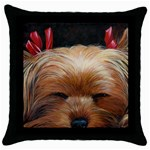 Sleeping Yorkie Painting Scan 300dpi Retouched Copy Throw Pillow Case (Black)