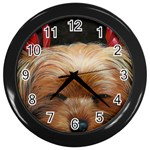 Sleeping Yorkie Painting Scan 300dpi Retouched Copy Wall Clock (Black)