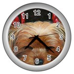 Sleeping Yorkie Painting Scan 300dpi Retouched Copy Wall Clock (Silver)