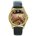 Sleeping Yorkie Painting Scan 300dpi Retouched Copy Round Gold Metal Watch