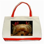 Sleeping Yorkie Painting Scan 300dpi Retouched Copy Classic Tote Bag (Red)