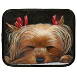 Sleeping Yorkie Painting Scan 300dpi Retouched Copy Netbook Case (Large)