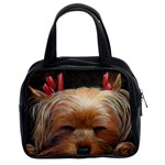 Sleeping Yorkie Painting Scan 300dpi Retouched Copy Classic Handbag (Two Sides)