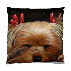 Sleeping Yorkie Painting Scan 300dpi Retouched Copy Cushion Case (One Side) from ArtsNow.com Front