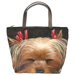 Sleeping Yorkie Painting Scan 300dpi Retouched Copy Bucket Bag