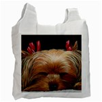 Sleeping Yorkie Painting Scan 300dpi Retouched Copy Recycle Bag (Two Side)