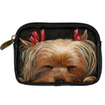 Sleeping Yorkie Painting Scan 300dpi Retouched Copy Digital Camera Leather Case
