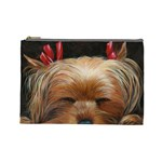 Sleeping Yorkie Painting Scan 300dpi Retouched Copy Cosmetic Bag (Large)