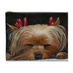 Sleeping Yorkie Painting Scan 300dpi Retouched Copy Cosmetic Bag (XL)